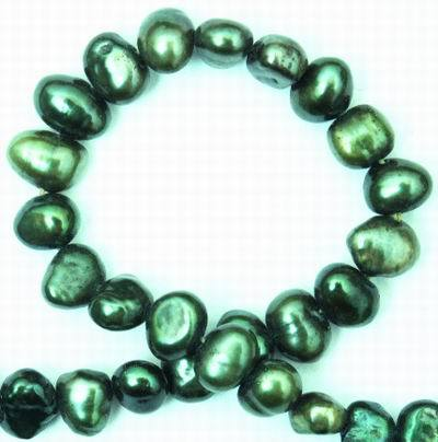 Oriental Emerald Green 5mm Biwa Pearls