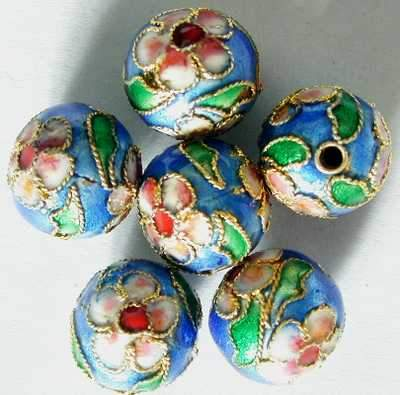 20 Blue Chinese Cloisonne Beads - 10mm
