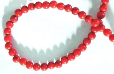Fire Engine Red Howlite Turquoise  Beads - 4mm