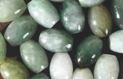 25 x 12mm Oval Chinese Jade Beads