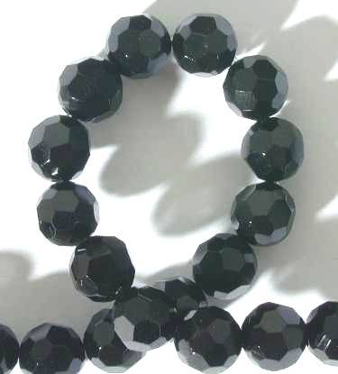 Haunting Faceted Black Onyx Bead String - 8mm