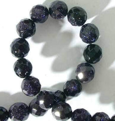 Dramatic Sparkling Faceted Blue Stone Beads - 6mm or 10mm