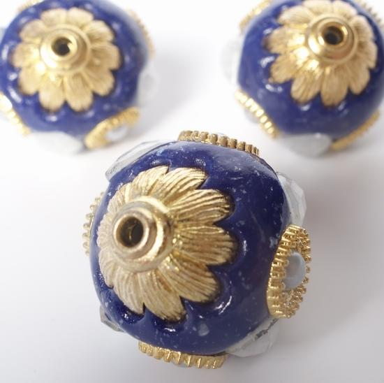 Magical Blue & Gold 25mm Cloisonne Bead