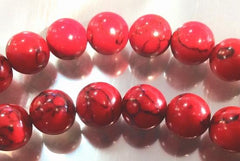 Dreamlike Pillar Box-Red Howlite Beads- 8mm or 10mm