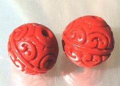 4 Fire-Red Carved Cinnabar Beads - 11mm