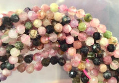 100 Natural Faceted 4mm Tourmaline Beads