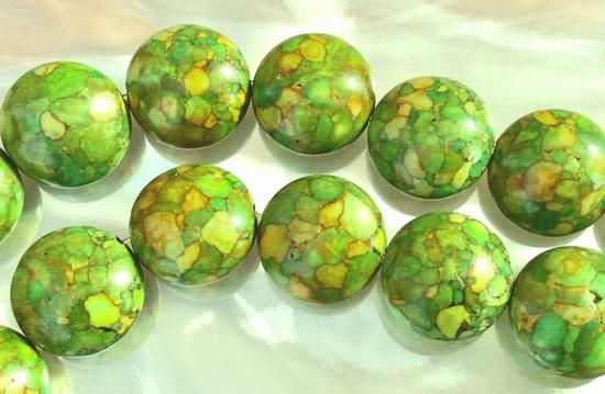 25 Large Mosaic Green Turquoise 16mm Button Beads
