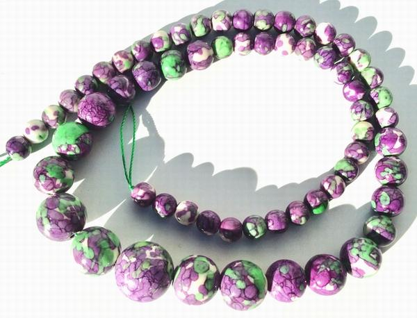 Lavender & Green Graduated Rainflower Viewing Stone 18inch String - 6mm to 14mm