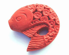2 Large Red Cinnabar Carved Fish Beads - Unusual!