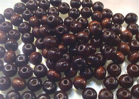 200 x 6mm Chocolate Wooden Beads