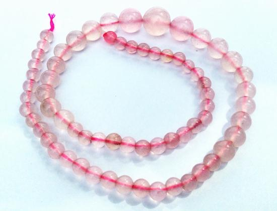 Baby Pink Graduated 6mm to 14mm Rose Quartz Bead String
