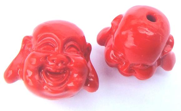 2 Lucky Cinnabar Happy Buddha Beads