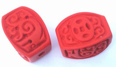 2 Unusual Cinnabar Chinese Brick Beads