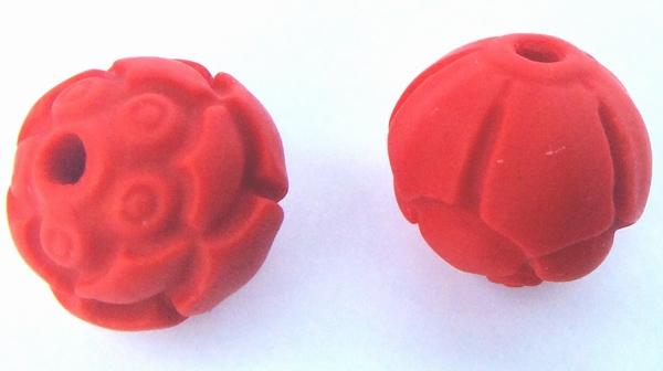 4 Fire-Red Carved 10mm Cinnabar Beads
