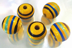 16 Large 15mm Summer Carnival Yellow & Blue Wooden Beads - Large Hole