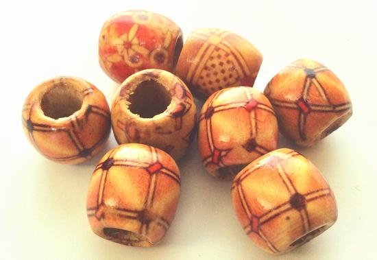 10 Oval 15mm Wooden Beads - Large 4mm Hole