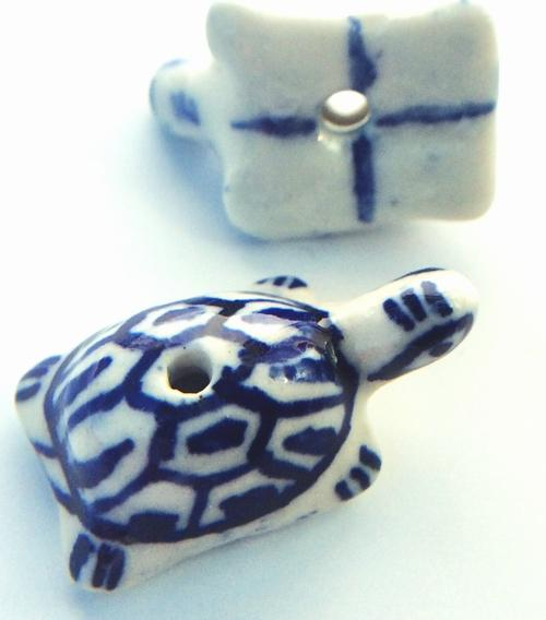 2 Lucky Prussian-Blue Porcelain Tortoise Beads - Unusual!