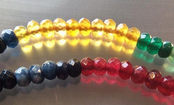 120 Faceted Rainbow Quartz Diamond Beads - Green, Yellow, Blue & Red