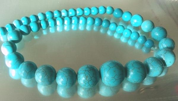 Fantastic Blue Howlite Turquoise Graduated Beads - Large 20mm to 8mm
