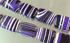 22 Purple, Black & White Striped Zebra Calsilica Pillow Beads
