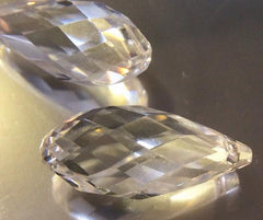 4 Large Faceted Clear Crystal Teardrop Beads - 26mm x 11mm