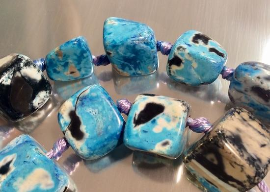 20 Gleaming Blue Agate Nugget Beads - Large 18mm x 14mm