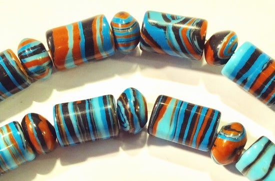 Neon Blue & Brown Calsilica Tubes With Matching Rondelles
