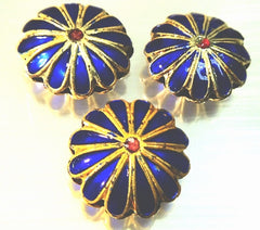 2 Gorgeous Royal Blue and Gold Cloisonné Flower Beads