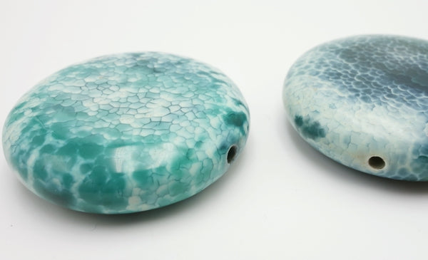 3 Large Aqua-Green Crab Fire Agate Button Beads - 35mm x 9mm