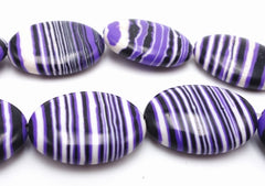 Beautiful Purple Stripe Oval Calsilica Beads