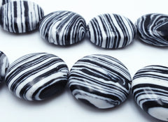 Beautiful Zebra Black Stripe Calsilica Button Beads