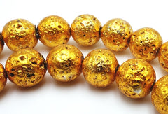 Shiny Gold 8mm Electro-Plated Lava Beads