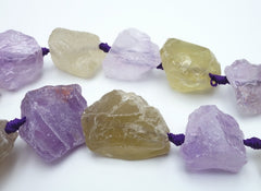 Subtle Light Amethyst and Pineapple Quartz Matte Nugget Beads