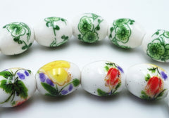Finely Crafted Porcelain Flower Painted Barrel Beads
