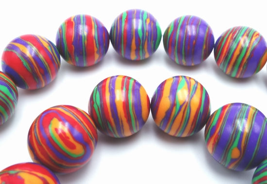 Breathtaking 14mm Rainbow Stripe Calsilica Bead String