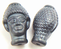 Majestic Carved 4 Dark Grey Buddha  Matte Hematite Bead
