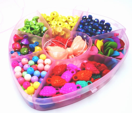 Cute Heart Assorted Beads  DIY Beading Kits - Kids Will Love This!