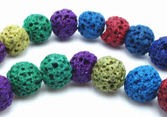Bright Summer Colours Lava Beads - 7mm