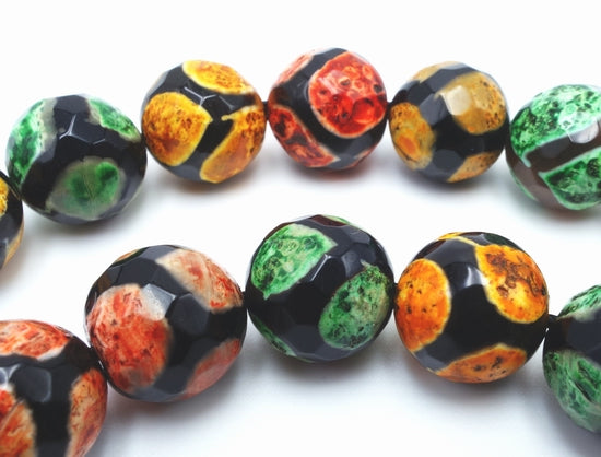 Exquisite 12mm Faceted Orange and Green Agate Football Beads