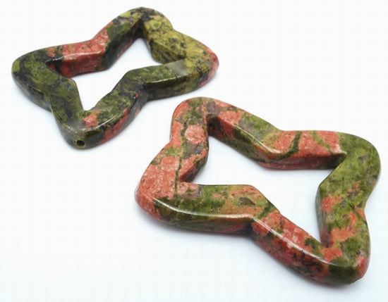 Lovely 2 Unakite Carved Frame Beads - Unusual!
