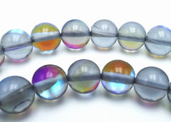 Dramatic Shiny Grey Mystic Crystal 6mm Beads