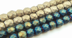 Faceted Magnetic Matte Hematite 4mm Beads - Grey or Blue