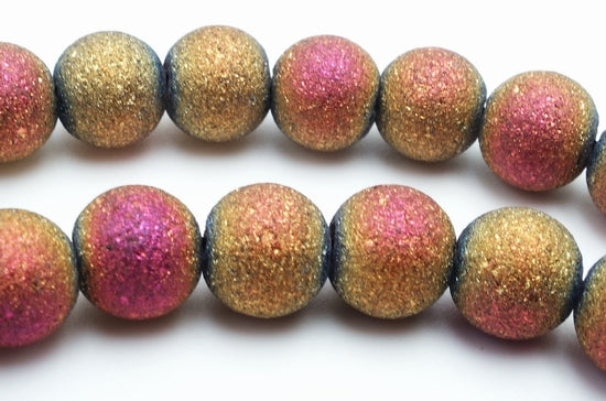 Haunting Beauty Gold and Pink  Electro Plated Glass Beads
