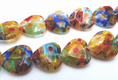 Subtle 33 Millefiori Heart Mixed Colour Beads