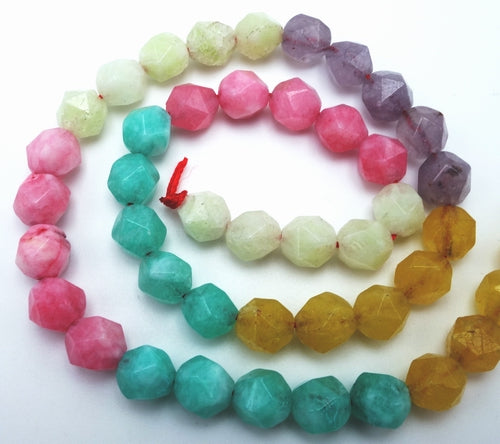 Dazzling Multi Colour  Faceted Jade Beads