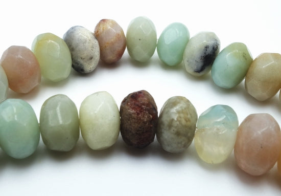Breathtaking Faceted Mixed Amazonite Rondelle Beads