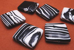 Beautiful Black and White Zebra Calsilica Square Beads