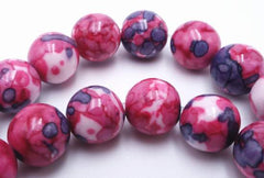 Sleek Mauve ,White and Light Cranberry Rainflower Stone - 6mm or 8mm