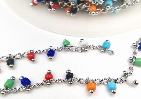 Vivid Colours Beaded Chrome Chain - 1.5mm Links