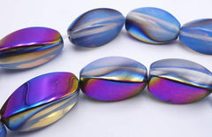 Gorgeous Purple and Gold Twisted Opalite Moonstone Beads